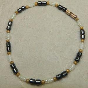 "Other - White tan gray bead anklet ankle bracelet 9.5"""